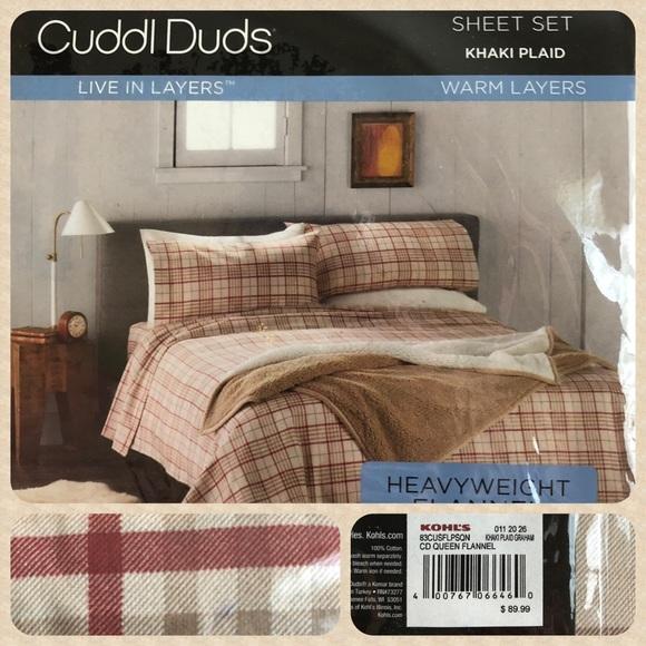 Cuddl Duds Bedding Flannel Sheet Set Khaki Plaid Cuddl Duds Nwt Poshmark